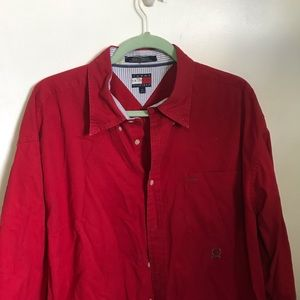 Tommy Hilfiger, XL red long sleeve button down.